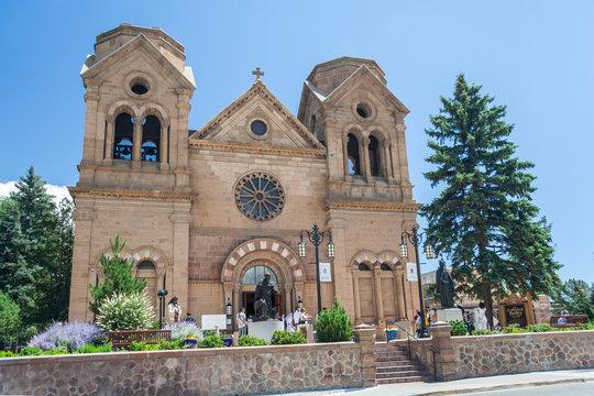 Cathedral Basilica of Saint Francis of Assisi, also known as Saint Francis Cathedral in downtown Santa Fe, New  Mexico