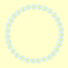 Wreath from watercolor hand drawn white wildflowers - daisy (camomile). Isolated on yellow background. Background can be changed