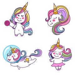 Unicorns vector illustration. Illustration for children.