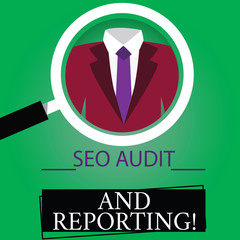 Text sign showing Seo Audit And Reporting. Conceptual photo Search Engine Optimization review feedback Magnifying Glass photo Enlarging Inspecting a Tuxedo and Label Tag Below