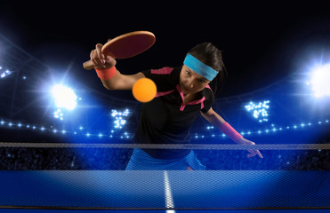 Portrait woman playing ping pong