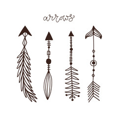 Hand drawn arrows collection. Ethnic ink tattoo art. Isolated vector dividers. Creative arrow decorations.