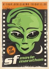 Science fiction movie night retro poster design with alien and film strip on dark background. Cinema event vintage flyer.