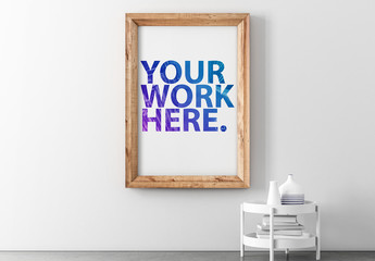 Wooden Framed Print Hanging on Wall Mockup