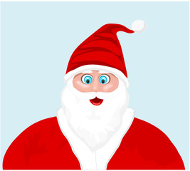 santa claus face against light blue background  vector Illustration Merry Christmas and New Year Winter season greeting vector illustration