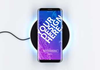 Smartphone on Charging Device Mockup
