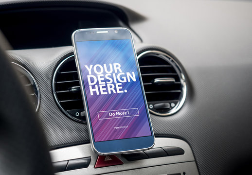 Smartphone Attached to Car Interior Mockup