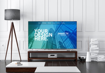 Smart TV in Living Room Mockup