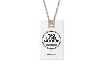 Textured Tag on Rope Mockup