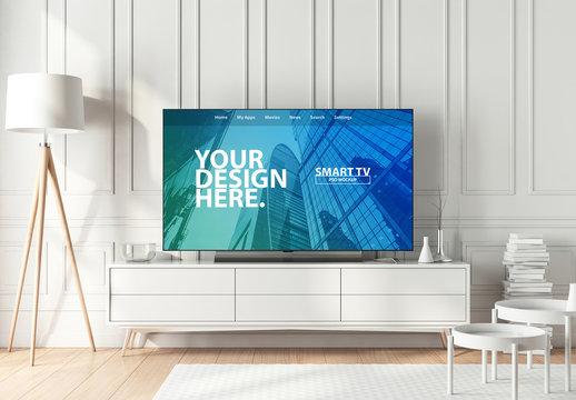 Smart TV in Living Room Mockup