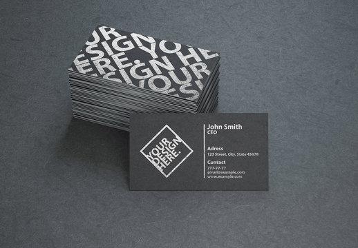 Stacked Black Business Cards Mockup