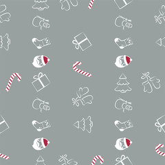 Christmas Seamless Pattern On Grey Background. Vector illustration. EPS10