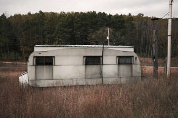 Abandoned trailer park in North Michigan USA in autumn
