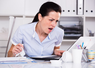 Adult woman office worker have problems