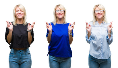 Collage of beautiful blonde woman over isolated background smiling crossing fingers with hope and eyes closed. Luck and superstitious concept.