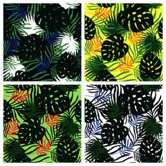 Set of tropical leaves vector pattern background summer floral