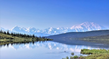 Wonder lake with mount Denali in the background