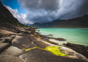 Colours of the Flakstadpollen bay on Lofoten islands, Norway.