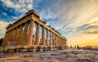 Wall Murals Athens Low angle perspective of columns of the Parthenon at sunset, Acropolis, Athens