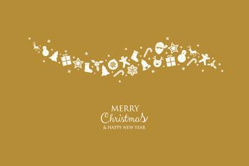 Christmas greeting card with beautiful ornaments. Vector.