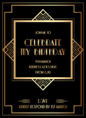Gatsby Art Deco Birthday Invitation Design