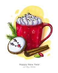 Festive illustration of winter still life: red cup with cocoa, whipped cream, deer cookie, cinnamon stick, fir branches and two candies. Greeting card for the winter holidays, posters, backgrounds.