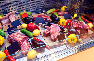 Meat display in butcher shop, toned