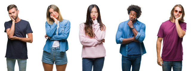 Composition of african american, hispanic and chinese group of people over isolated white background thinking looking tired and bored with depression problems with crossed arms.