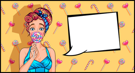 girl in pop art style with a lollipop. a lot of sweets on the background. the sale of candy. vector illustration