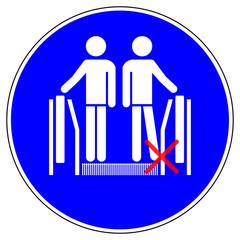 ssne2 SafetySignNewEscalator ssne - shas548 SignHealthAndSafety shas - German / Gebotszeichen: Rolltreppe - Füße aus Randbereich fernhalten - mandatory action sign: escalator - avoid sides - g6857