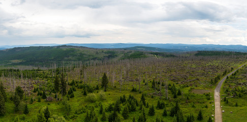 Spring landscape in the national park Sumava. Panoramic view of 'Czech landscape. Rainy weather. Cloudy sky.