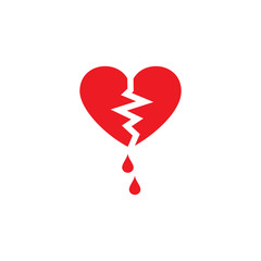 The vector picture of the broken heart. Set of vector icons. Termination of unfortunate love. Flat design.