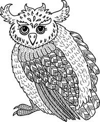 Vector drawing of decorative fabulous owl