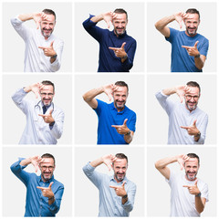 Collage of senior hoary elegant man over white isolated background smiling making frame with hands and fingers with happy face. Creativity and photography concept.