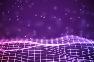 Canvas Prints Violet Virtual reality concept: 3D Purple digital wireframe grid with floating particles. Digital landscape or sound waves visualization. Background for data and cyberspace. EPS 10 vector illustration.