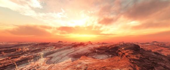 Mars at sunset, sandstorm on Mars, sunrise on Mars, 3d rendering