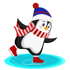 Penguin in hat and scarf skating on ice on a white.