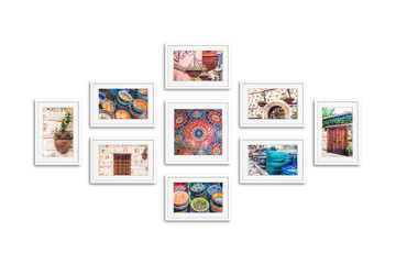 Photo frames collage with street photography, pictures of old city. White frameworks mock up