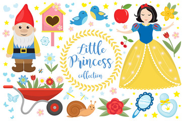Cute fairytale princess snow white set objects. Collection design element with a little pretty girl, gnome, apple, flowers, birds. Kids baby clip art funny smiling character. Vector illustration Fotomurales