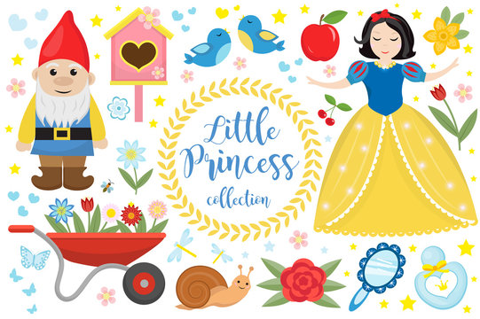 Cute fairytale princess snow white set objects. Collection design element with a little pretty girl, gnome, apple, flowers, birds. Kids baby clip art funny smiling character. Vector illustration