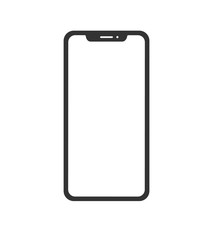 Black phone concept in minimalistic flat style, isolated with blank screen. Vector illustration.