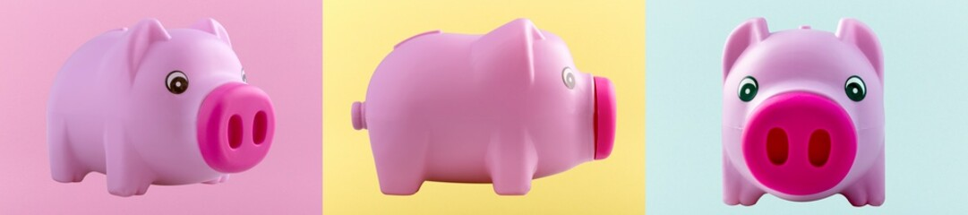pink piggy bank on different colored backgrounds, panoramic image