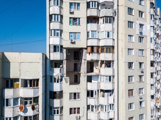 The collapse of soviet style panel high-rise building destroyed by the explosion of a gas tank in the center of Chisinau, Moldova on October 6, 2018