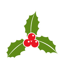 Holly berry leaves icon Christmas flat vector illustration isolated on white