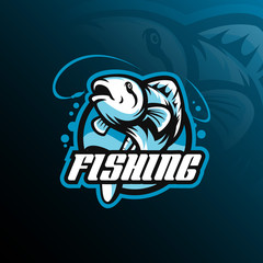 fish mascot logo design vector with modern illustration concept style for badge, emblem and tshirt printing. fish jumping illustration with fishing rod