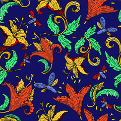 Seamless floral pattern with flowers and butterflies