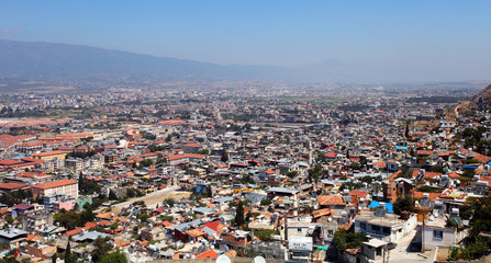 Panoramic view of Hatay City (Antakya) in Turkey. Hatay, the third biggest city of the Roman Empire, is one of the most important tourism destinations in Turkey.