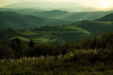 Zielone wzgórza rozświetlone pięknymi promieniami zachodzącego słońca