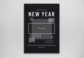 New Year's Party Flyer Layout with Abstract Illustrations