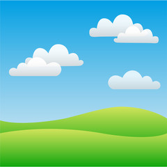 Field sky and clouds. Vector